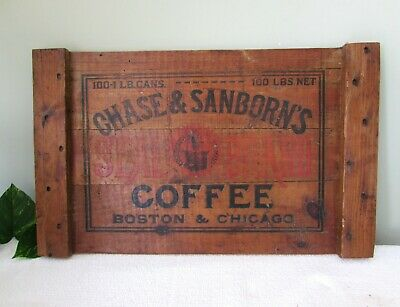 Antique CHASE & SANBORN'S Coffee Crate END PANEL~Super Rustic Country Farmhouse