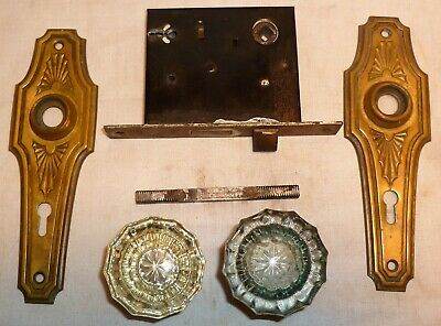 Vtg Door Lock Knobs & Escutcheon Plate Set Brass Victorian Edwardian Eastlake