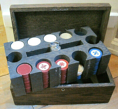 Antique Vintage 229 Clay Poker Chips in Wooden Holder & Box Old Gaming Set
