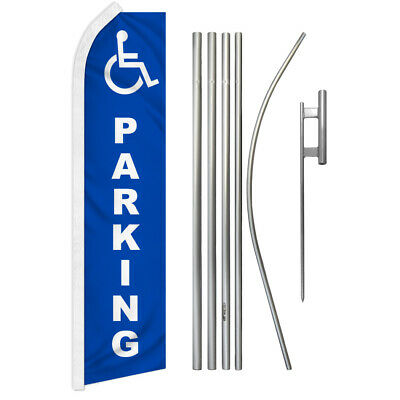PARKING Park Car Lot Swooper Banner Feather Flutter Bow Tall Curved Top Flag