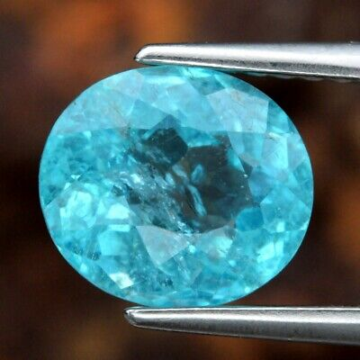 1.84ct 7.8x7mm Oval Natural Unheated Paraiba-Color Neon Blue Apatite