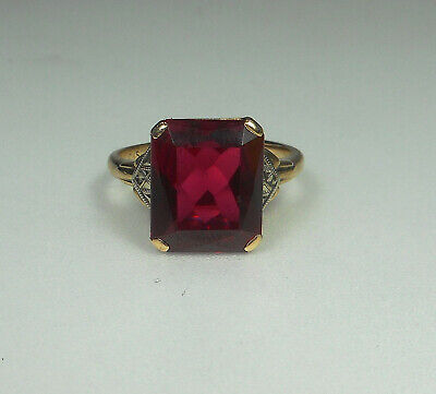 10K SOLID GOLD Antique Art Deco Ruby Ring Sz 7 RARE FIND