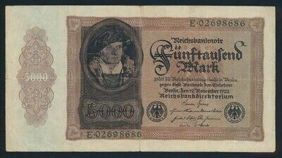 Germany: Weimar Republic 19-11-1922 5000 Mark. Pick 78 GF - Cat VF $67, VG $40