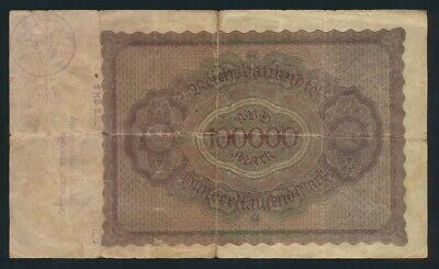 """Germany: Weimar Republic 1923 100,000 Mark """"FOREIGN EXCHANGE STAMP"""". Pick 83a"""