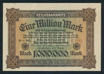 Germany: Weimar Republic 20-2-1923 1,000,000 Mark. P86a EF - Cat UNC $67, VF $33