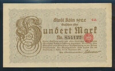 Germany: Weimar Republic KOLN (COLOGNE) 12-9-1922 100 Mark. Pick Unlisted