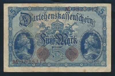 "Germany: Empire WWI 5-8-1914 5 Mark ""7 DIGIT SERIAL"". Pick 47b VF Cat $53"