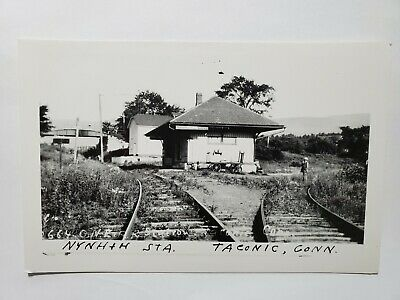 Vintage RPPC Postcard Central New England Railroad Station in Taconic CT NO Res