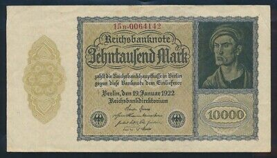 "Germany: Weimar 1922 10,000 Mark ""VAMPIRE ISSUE"". P72 GVF - Cat UNC $27, VF $11"
