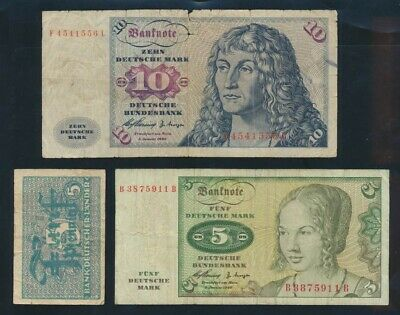 Germany: Federal Republic 1948-60 5 Pfg + 5 & 10 Mk. P11a-19a Cat VF $47, VG $24