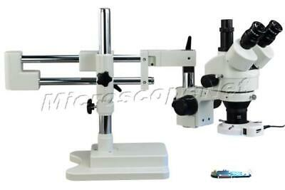 Trinocular Zoom Stereo 3.5X-90X Microscope 144 LED Light Dual-arm Boom Stand