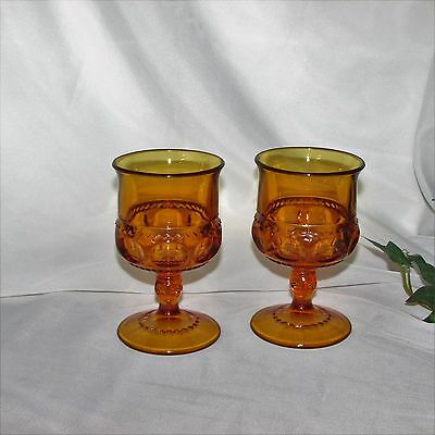 Indiana Glass Kings Crown Gold Amber Sherry Glasses 2 Goblets Thumbprint Vintage