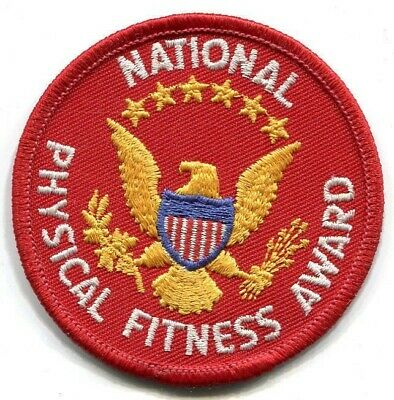 USA National Physical Fitness Award - vintage red patch with stars