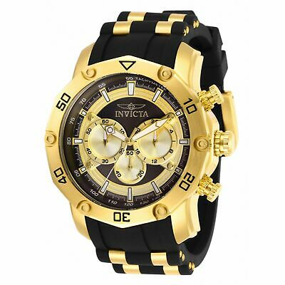 Invicta 50mm Pro Diver Scuba Quartz Chronograph Strap Watch Goldtone 30029