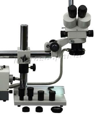 Trinocular 3.5X-90X Zoom Stereo Boom Stand Microscope+Cold Ring Fiber Light New