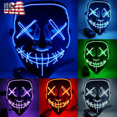 Light Up LED Scary Mask for Stitches Costume Halloween Rave Cosplay Party Purge