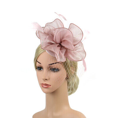 Women Flower Mesh Fascinator Hat Feathers Headband Lady's Day Party Banquet Hat