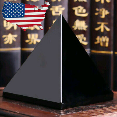Natural Reiki Energy Charged Black Obsidian Pyramid Crystals Protective Healing