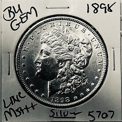 1898 Bu Gem Morgan Silver Dollar Unc Ms++ Genuine U.s. Mint Rare Coin 5707