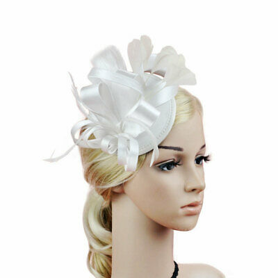 WOMEN FASCINATOR Hat Lady's Day Feather Floral Millinery Wedding Hair Clip
