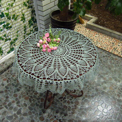 Tablecloth Doily Table Cloth Handmade Crochet Lace Cotton Cover Mat Round 90cm