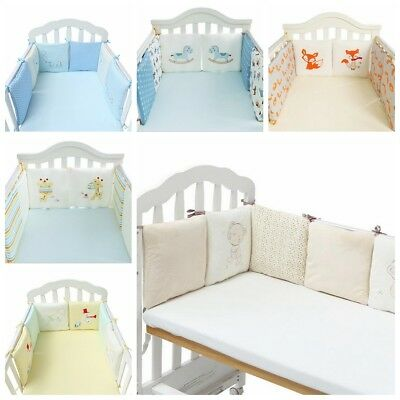 UK Baby Bedding Crib Bumper Infant Bed Cot Safety Protector Cushion Nursery 6Pcs
