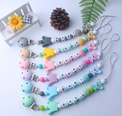 Silicone cartoon Crown Koala Baby Teether Pacifier Clips Holder Dummy clip DIY