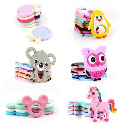 1PC Baby Silicone Teether Teething Toy Animal Ring Teethers Pacifier Chain DIY