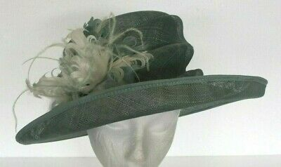 482911e2 HAT BOX Ladies Wedding Hat / Races / Mother Bride - Mint Green - Feathers/