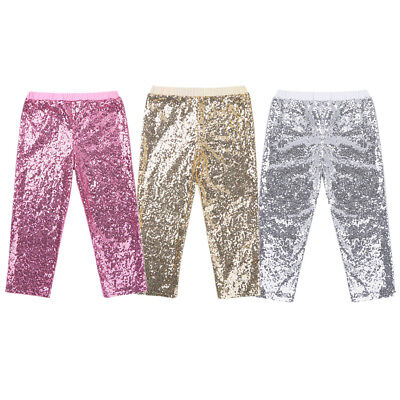 Toddler Kids Girls Sequin Pants Jazz Dance Party Glittery Leggings Long Trousers