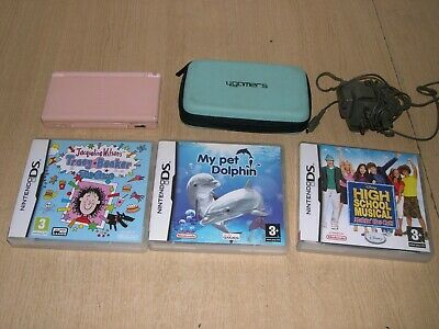 Nintendo Ds Lite Console Pink, With Charger & 3 Game Bundle Fully Tested