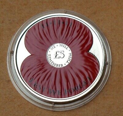 2013 Jerset Proof £5 Poppy Coin Lest We Forget [No1]