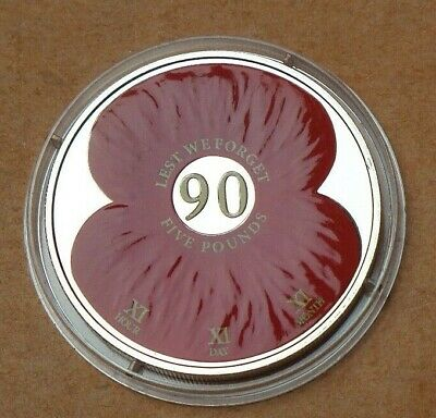 2011 Jerset Proof £5 Poppy Coin Lest We Forget [No2]