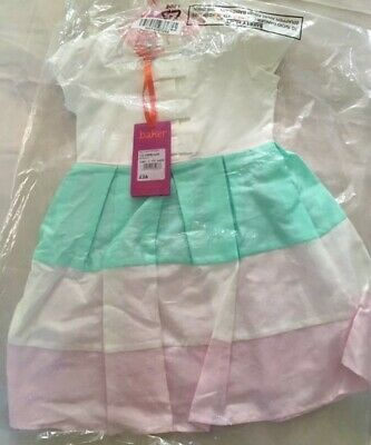NWT Baker by Ted Baker Baby Girl Multicoloured Block Striped Dress 12-18 Months