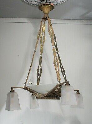 Antique Vintage Art Deco Chandelier French Bronze Glass Shades Ornate Rewired