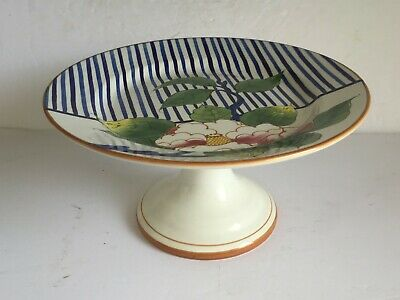 Tiifany & Co. Floral Ceramic Cake Stand Plate ESTE CERAMICHE Italy Hand Painted