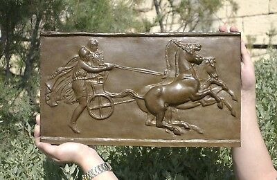 Ancient Chariot (biga) racing plaque, BRONZE, 480x280mm, 16kg