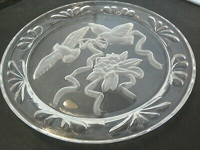Etched Glass Bird Plate