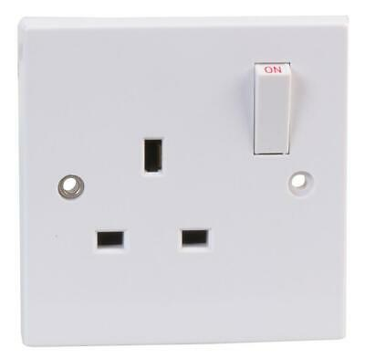 Switched Plug Socket Single Gang 1 Gang 1G White Plastic UK Wall Socket