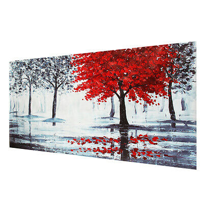 Red Forest Canvas Modern Home Wall Decor Art Painting Picture Print Unframed