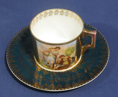Vtg Antique Royal Vienna China Beehive Mark Hand Painted Portrait Cup + Saucer