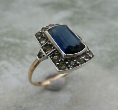 Fine Lovely Vintage Art Deco 9K 9ct Gold & Silver Sapphire Paste Ring UK Size P