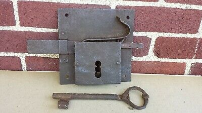 Antique Large Hand Forged Wrought Iron Door Lock With Key Works