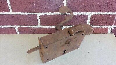 Antique Hand Forged Rim Mount Dutch Elbow Lock Latch Wrought Iron Old Door