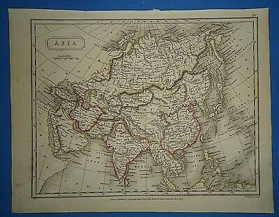 Antique 1825 ASIA MAP Old Vintage Original Hand Colored Atlas Map
