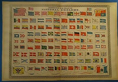 Vintage 1885 Johnson's Atlas Illustration NATIONAL FLAGS & EMBLEMS of the WORLD
