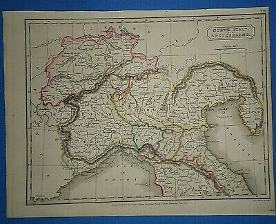 Antique 1825 NORTHERN ITALY MAP Old Vintage Original Hand Colored Atlas Map