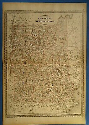 Vintage 1885 NEW HAMPSHIRE VERMONT MAP Old Antique Original Johnson's Atlas Map