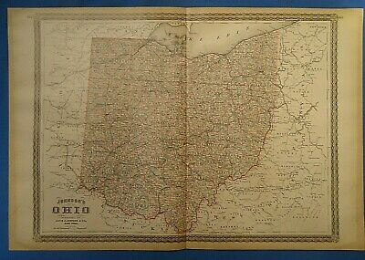 Vintage 1885 OHIO MAP Old Antique Original Johnson's Atlas Map