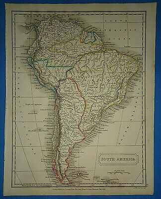 Antique 1825 SOUTH AMERICA MAP Old Vintage Original Hand Colored Atlas Map